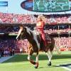 Susie Derouchey and APHA mare, Warpaint, help cheer on KC Chiefs
